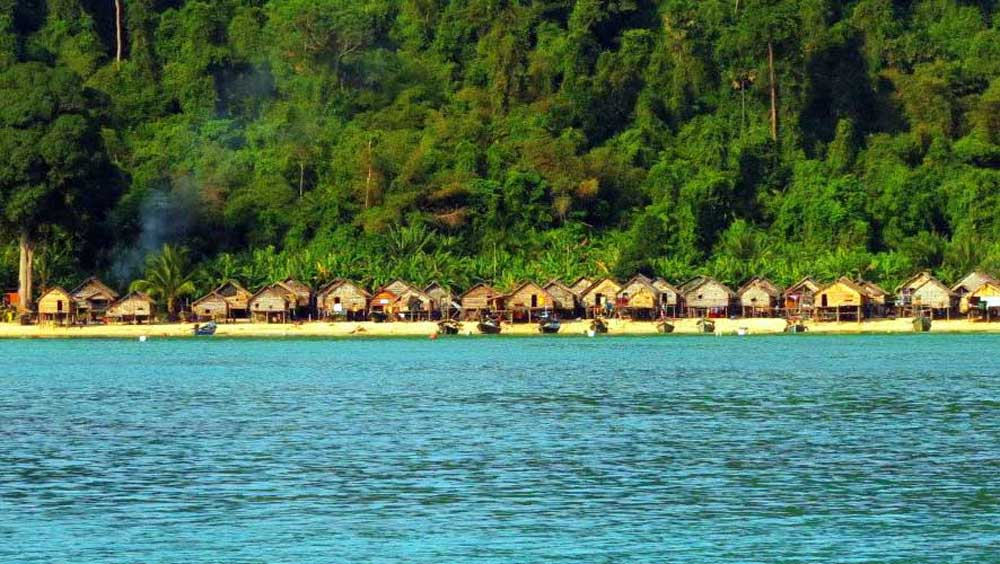Moken village at the Surin Islands Moken village at the Surin Islands